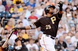 Pirates' Gregory Polanco hits a three-run home run against the Diamondbacks in the first inning Tuesday at PNC Park.
