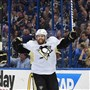 Pittsburgh Penguins Phil Kessel celebrates after scoring in the first period against the Lightning Tuessday at the Amalie Arena in Tampa Florida.