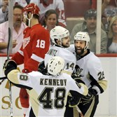 The Penguins' Max Talbot scored both goals in the Penguins' 2-1 Game 7 win over the Red Wings in the 2009 Stanley Cup final.