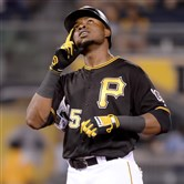 Gregory Polanco celebrates a double in the sixth inning Tuesday night against the Diamondbacks at PNC Park.