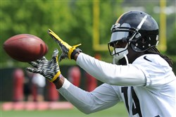 Steelers wide receiver Sammie Coates hauls in a pass in practice Wednesday on the South Side.