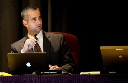 Timothy Glasspool, the Plum Borough School District superintendent, remains on paid administrative leave.