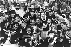 The Penguins celebrate after their 1991 Stanley Cup victory.