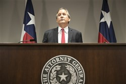 Republican Texas Attorney General Ken Paxton announces Texas' lawsuit to challenge President Barack Obama's transgender bathroom order during a news conference in Austin, Texas, on Wednesday
