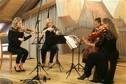 The Clarion Quartet performed Tuesday at Terezin, a former Nazi concentration camp near Prague. The quartet is made up of members of the  Pittsburgh Symphony Orchestra: from the left, violinists Marta Krechkovsky and Jennifer Orchard, violist Tatjana Mead Chamis and cellist Bronwyn Banerdt.