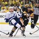 The Penguins Matt Cullen upends Tampa Bay's Steven Stamkos. Stamkos return just couldn't turn the tide in Game 7 at the Consol Energy Center.