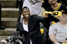 The Steelers' Antonio Brown cheers on the Penguins as they take on the Lightning in the Eastern Conference final in May.
