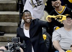 Steelers' Antonio Brown cheers on the Penguins during  the Eastern Conference final at Consol Energy Center.
