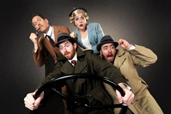 "Allan Snyder, left, Luke Halferty, Megan Pickrell and Quinn Patrick Shannon are on the move in CLO Cabaret's ""The 39 Steps,"" at the Cabaret at Theater Square, Downtown, through Aug. 14."