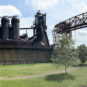 A 2016 photo showing a panorama view of Carrie Furnace in Rankin.