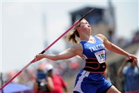 Connellsville's Madison Wiltrout wins the Girls AAA javelin on her final throw of competition at the 2016 PIAA State Track & Field Championship Saturday at Seth Grove Stadium Shippensburg University.