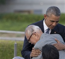President Barack Obama hugs Shigeaki Mori, a survivor of the 1945 atomic bombing of Hiroshima, during a visit Friday to the Hiroshima Peace Memorial Park. Mr. Obama paid a moving tribute to victims of the world's first nuclear attack.