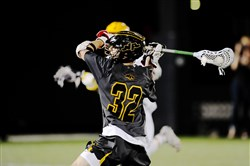 North Allegheny's Alec Vissotski, takes a shot in a 9-7 win over Mt. Lebanon in the Division 1 WPIAL lacrosse championshjip Friday at Highmark Stadium.