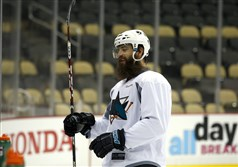 San Jose's Brent Burns practices Sunday at Consol Energy Center.