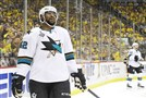 Joel Ward of the San Jose Sharks reacts during the second period against the Penguins in Game 1 of the Stanley Cup final Monday at Consol Energy Center.