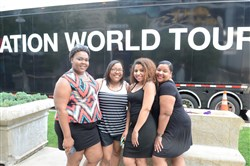 Brittany Brown, Jamie Bowie and Amber Bowie, nieces of Erica Bowie, wait to enter Heinz Field for the Beyonce Formation World Tour on May 31.