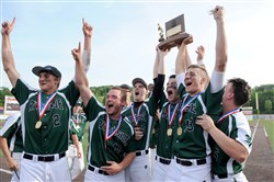 Riverside teammates hoist their trophy after defeating Neshannock in the WPIAL Class AA baseball championship Tuesday at Consol Energy Park.