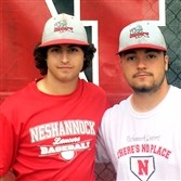 Neshannock High School pithcers Rich Serignese, left, and Frank Fraschetti