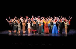"Representatives of all 28 schools that took part in the Gene Kelly Awards perform, in the costumes worn in all of their respective musicals, the closing song ""Eyes on the Goal"" at the Gene Kelly Awards hosted at the Benedum Center."