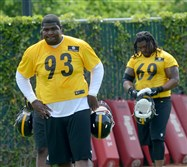 Steelers defensive tackle Daniel McCullers (93) at practice at the Steelers South Side facility.