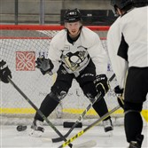 Penguins forward Oskar Sundqvist plays goalie against his teammates during a May 2016 practice at UPMC Lemieux Sports Complex.