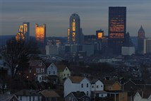 Early morning Pittsburgh skyline as seen from Greenfield.