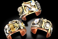 Steampunk cuffs by artist Michael Stephens, who is exhibiting at the Three Rivers Arts Festival.
