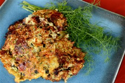 Zucchini fritters, made with onions, feta cheese, dill and mint.
