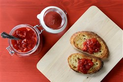 A classic strawberry jam, made with ripe berries and a Granny Smith apple, which is shredded.