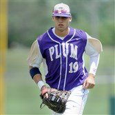 Plum's Alex Kirilloff heads to the dugout during their 1st round of the PIAA AAAA Baseball playoff game against Erie McDowell at Slippery Rock Tuesday, June 7, 2016.