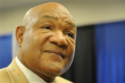 George Foreman talks about the passing of Muhammad Ali during a special appearance Wednesday at the Inventhelp's INPEX invention trade show in Monroeville.