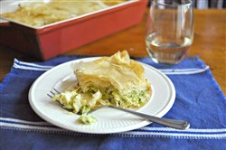 Zucchini Pie (Kolokithopita) is simple to make, and it freezes well.