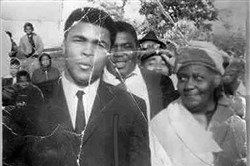 The visit of Muhammad Ali to Glen Hazel in 1964. Florence Betsill is at right with her son, Jim Betsill, behind.