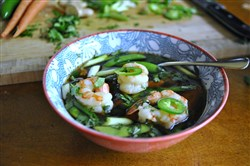 Quick Pho Broth-Poached Shrimp and Vegetables features grains instead of traditional rice noodles.