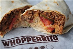 The Burger King in Hermitage, Pa., is giving a test run to the Whopperito. It has all the ingredients of the Whopper in a wrap instead of a bun.
