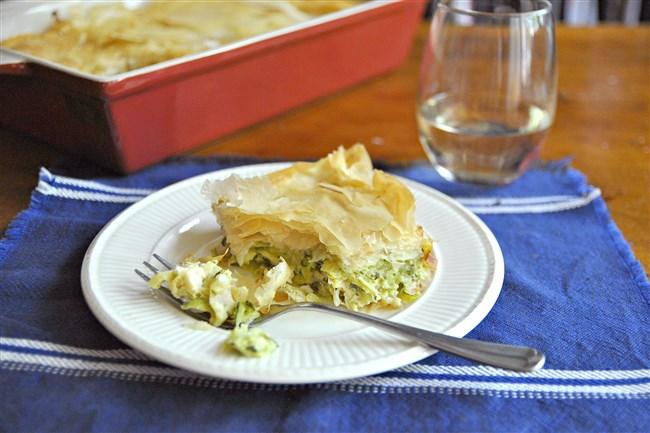 Zucchini Pie (Kolokithopita) is simple to make, and it freezes well.