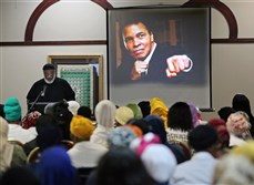 Imam Nadim Ali delivers the closing remarks during an interfaith memorial service for Muhammad Ali in Atlanta Thursday.