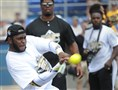 Steelers linebacker Vince Williams connects with a pitch warming up for the Home-Run Derby at the Antonio Brown & Friends Celebrity Softball Game to raise funds for Children's Hospital of Pittsburgh Foundation today at Consol Energy Park in Washington, Pa.