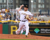Right-hander A.J. Schugel pitches for the Pirates June 10 at PNC Park.