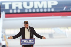 Donald Trump speaks at a rally at Atlantic Aviation in Moon on Saturday.