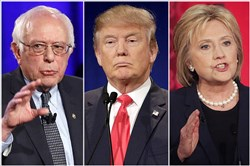 Bernie Sanders, Donald Trump and Hillary Clinton
