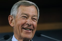 In a Jan. 12, 2009, file photo, then-Sen. George Voinovich, R-Ohio, speaks during a news conference on Capitol Hill in Washington, D.C., to announce that he will not seek another term as senator.