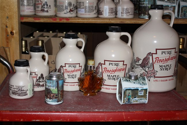 Local maple syrup sold at Hurry Hill Maple Farm in Edinboro.