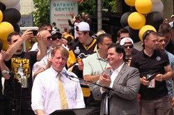 Allegheny County Executive Rich Fitzgerald, left, and Pittsburgh Mayor Bill Peduto during last year's Penguins Stanley Cup Parade.