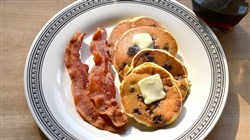 Blueberry-Sour Cream Pancakes with Big Batch Bacon.