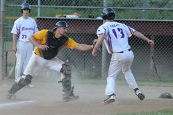 Ohio Valley catcher David McNeil tags out Robinson pitcher Todd Police at home plate in a Greater Pittsburgh Federation League game Tuesday at Meyer Middleton Park in Crafton.