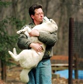 Tommy Oelschlager and 'N Bingo Was His Name O, the top Siberian husky in the country, around 1999 in Finleyville.