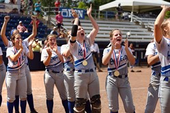 Hempfield players cheer as they receive their medals for winning the PIAA Class AAAA championship last week at Penn State.