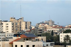 A general view shows solar panels on top of an apartment block in Gaza City on Wednesday.