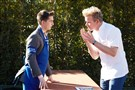 "Slippery Rock's Nathan Barnhouse, left, receives instruction from ""MasterChef"" host Gordon Ramsay. Mr. Barnhouse is a team leader in tonight's episode on FOX."